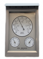 Weather Station Aluminium Metal Wall Barometer Thermometer & Hydrometer